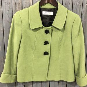 Tahari Lime Green Bow Button Blazer Jacket